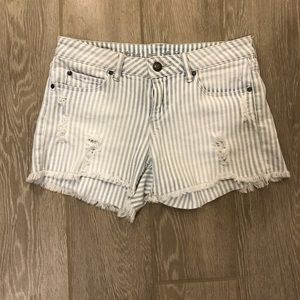 Article Of Society Striped Distressed Shorts